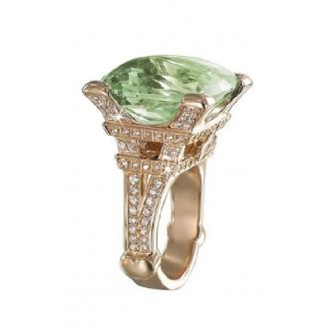Anello design con diamanti e quarzo verde - PASQUALE BRUNI