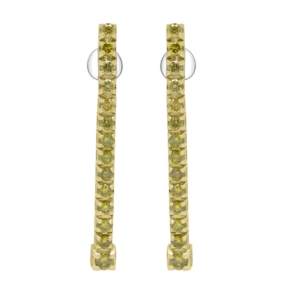 Orecchini tennis in oro giallo con diamanti ct 0.90 - ALFIERI & ST. JOHN