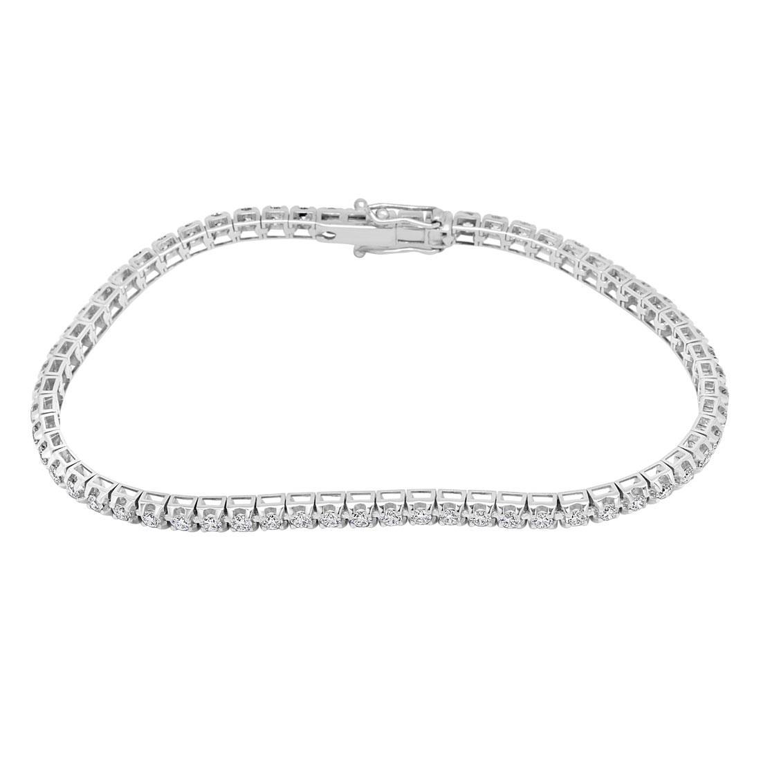 Bracciale tennis in oro bianco con diamanti ct 2.10 - ALFIERI & ST. JOHN