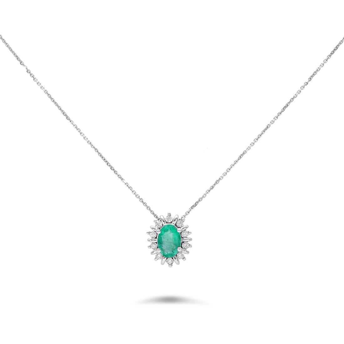 Collana con smeraldo e diamanti - LUXURY ZONE