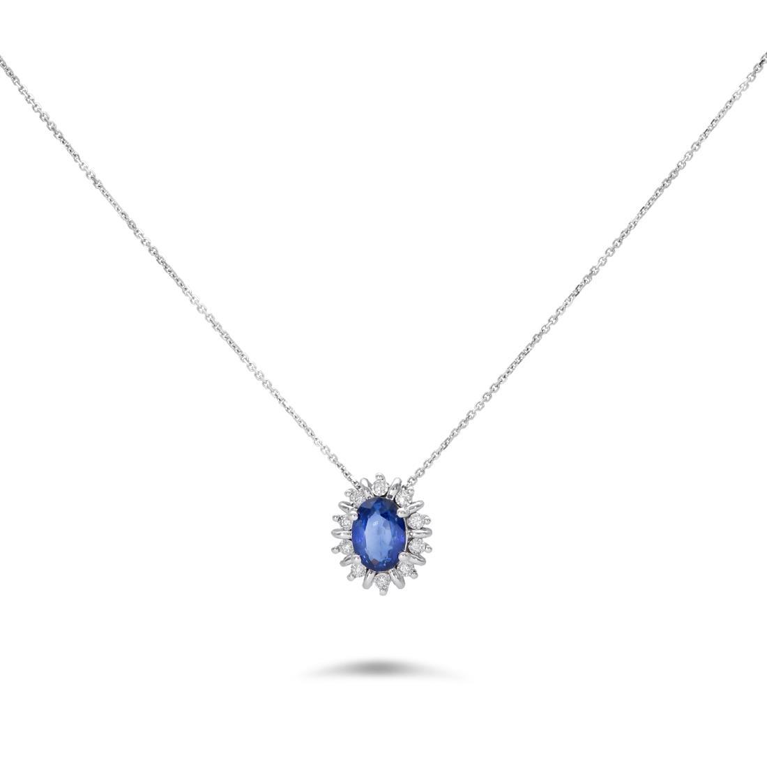 Collana con zaffiro e diamanti - LUXURY ZONE