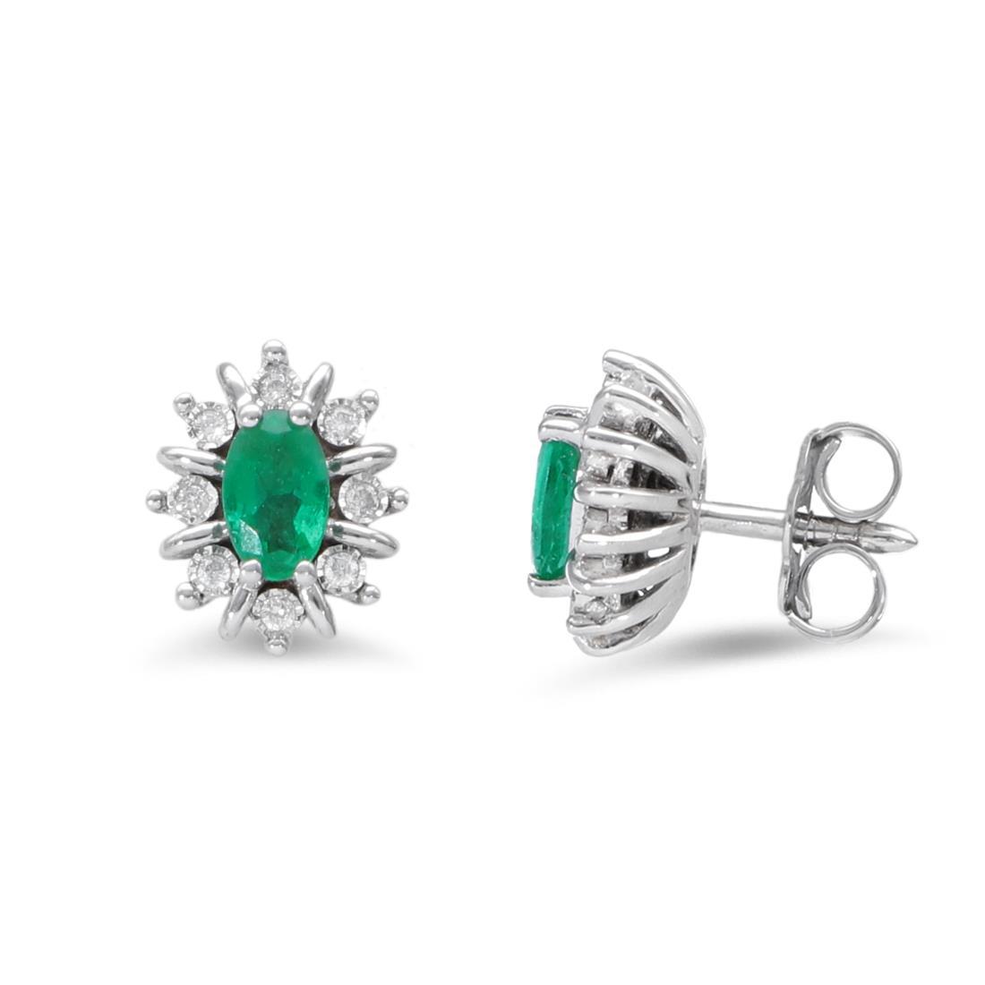 Pendientes con esmeraldas y diamantes - LUXURY ZONE