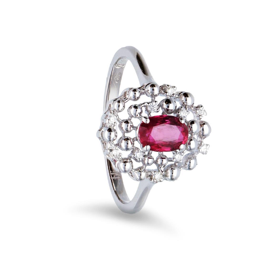 Anello con diamanti e rubino - BLISS