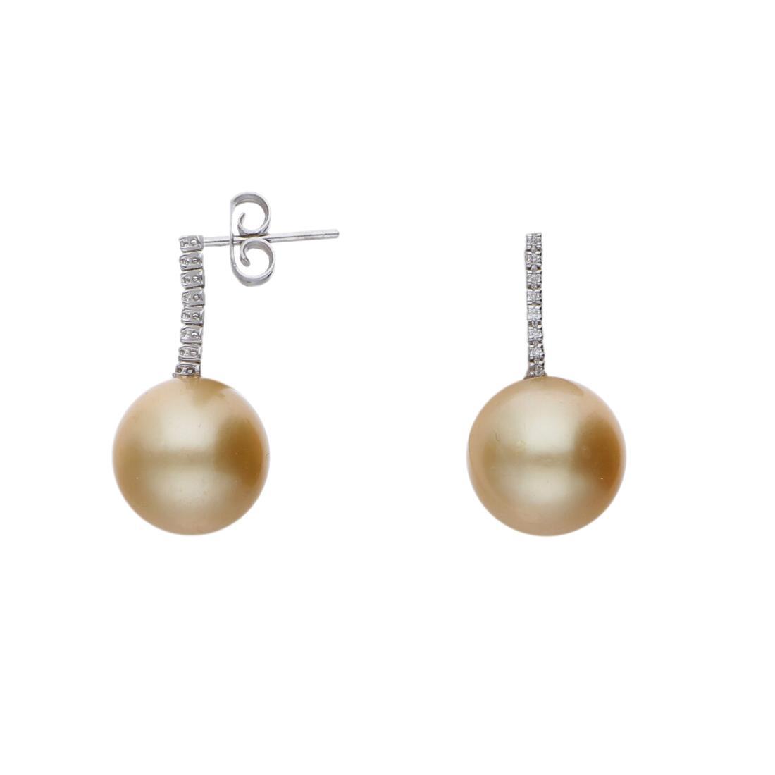 Orecchini con diamanti e perle - ROBERTO DEMEGLIO