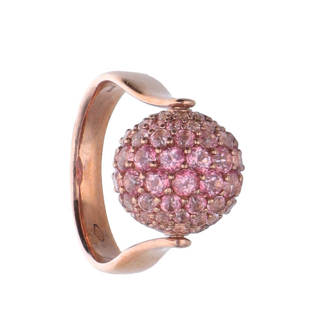 Anillo esfera con topacios rosas - ROBERTO DEMEGLIO
