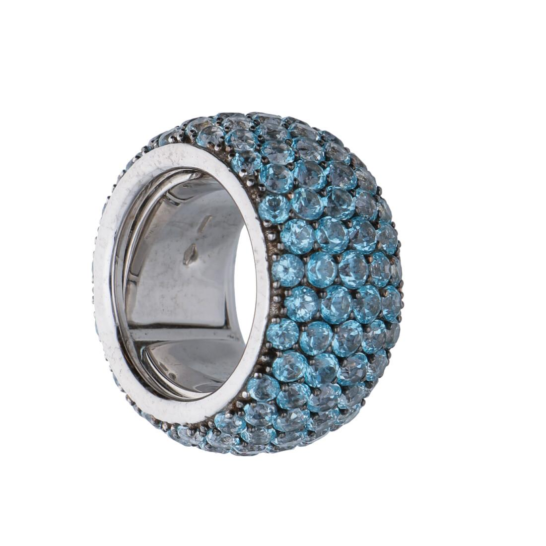 Anello a fascia con topazi azzurri - ROBERTO DEMEGLIO