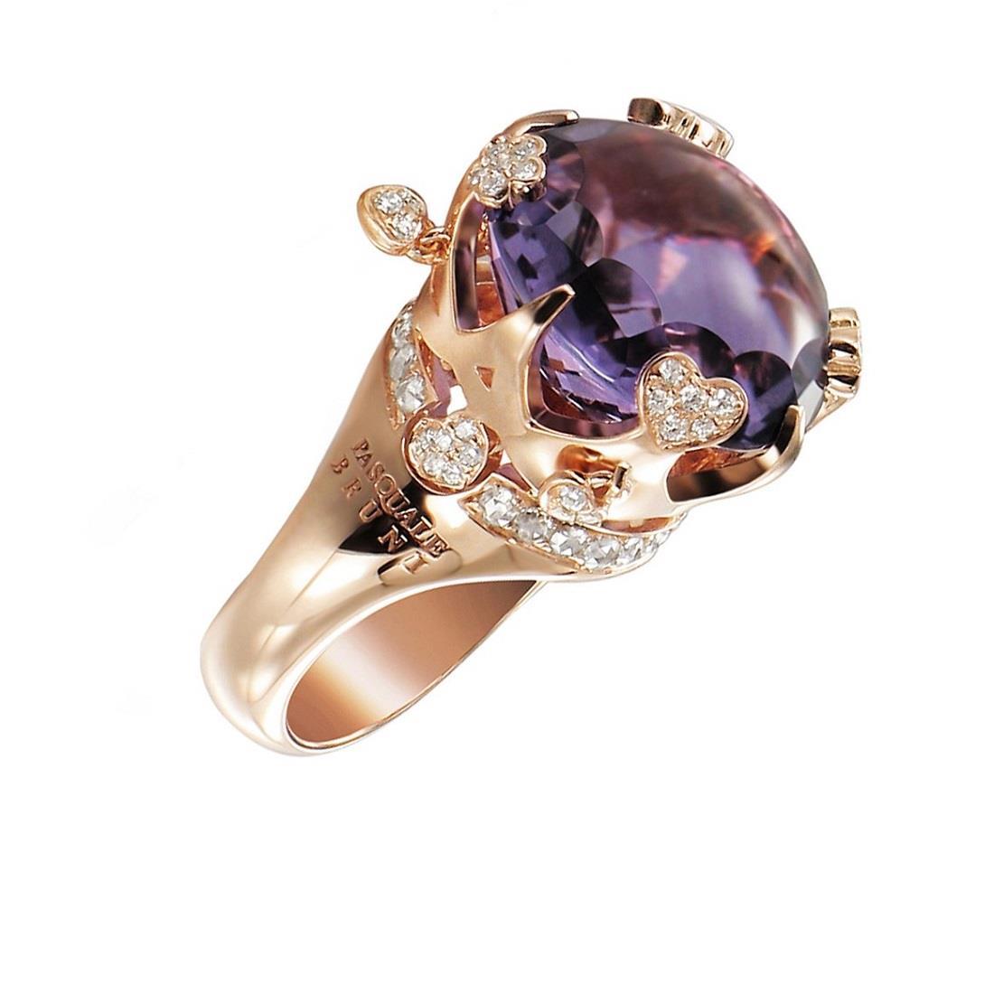 Anello con diamanti e ametista - PASQUALE BRUNI