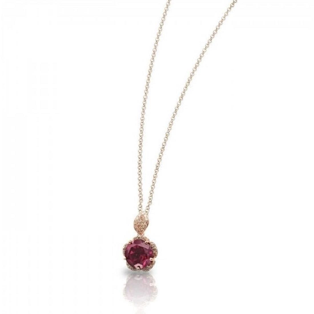 Collana con pendente in rodolite e diamanti - PASQUALE BRUNI