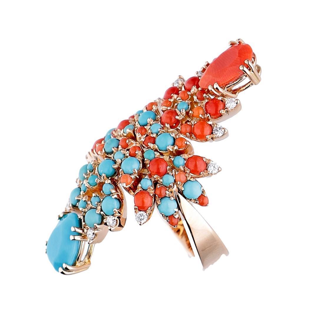 Anello con diamanti, turchese e corallo - PASQUALE BRUNI