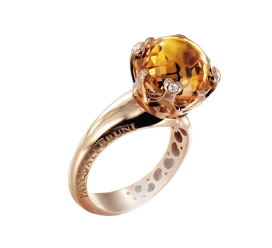 Ring with diamonds and yellow quartz - PASQUALE BRUNI