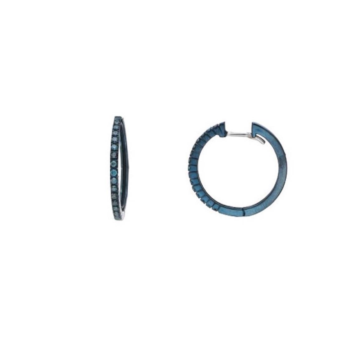 Orecchini a cerchio con diamanti blu - ALFIERI & ST. JOHN