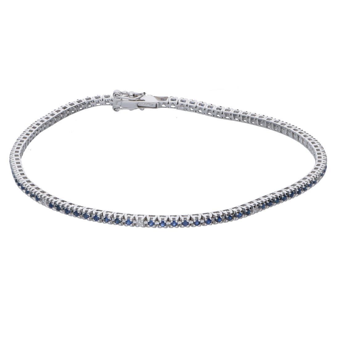 Bracciale tennis con diamanti bianchi e zaffiri - ALFIERI & ST. JOHN