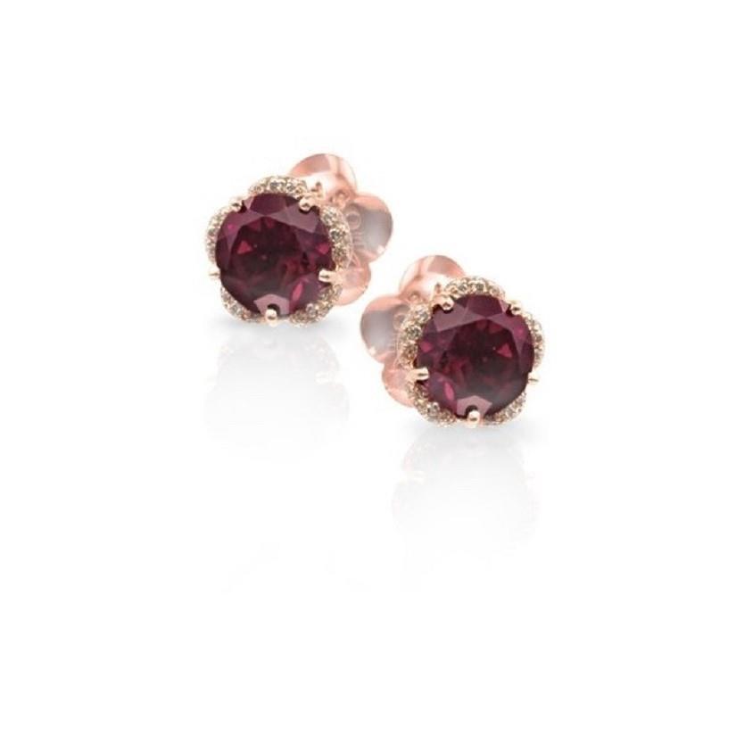 Orecchini con diamanti e rodolite - PASQUALE BRUNI