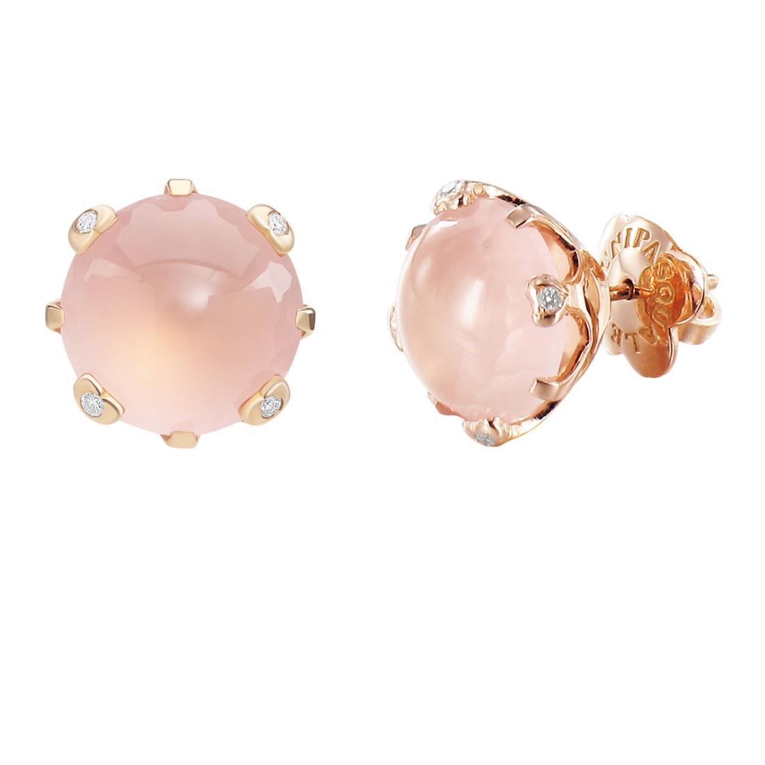 Orecchini con diamanti e quarzo rosa - PASQUALE BRUNI