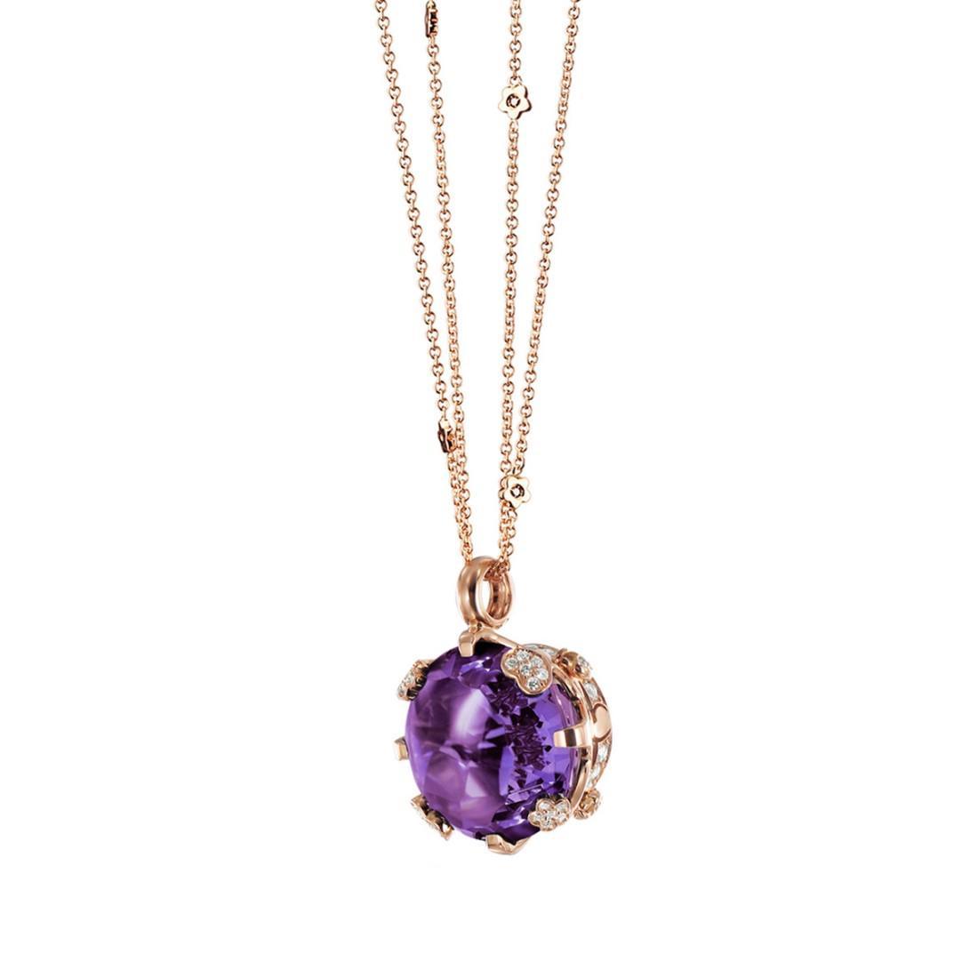Collana con ametista e diamanti ct. 0,57 - PASQUALE BRUNI