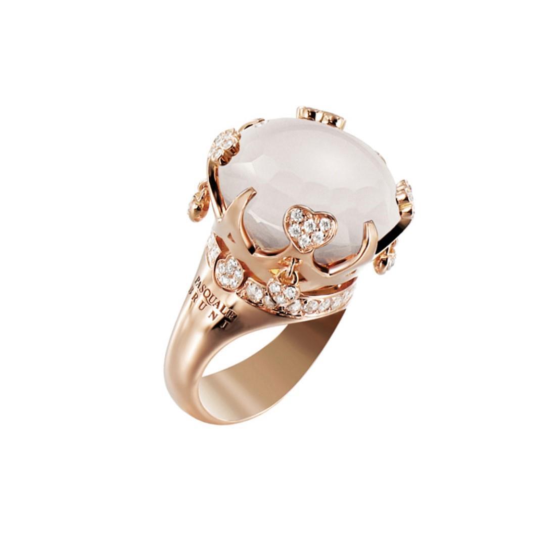 Anello con diamanti e quarzo bianco - PASQUALE BRUNI