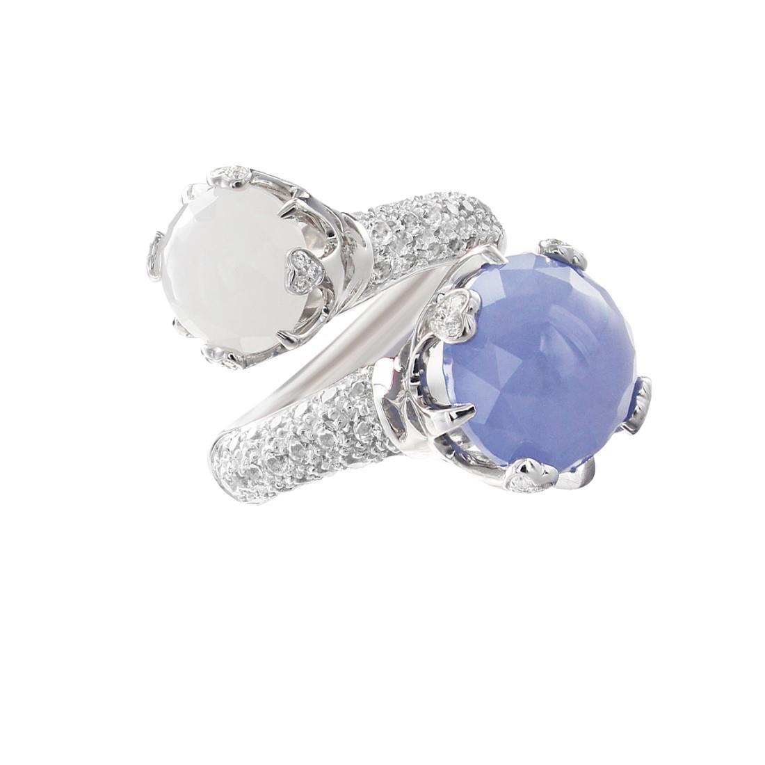 Anellocon diamanti e calcedonio - PASQUALE BRUNI