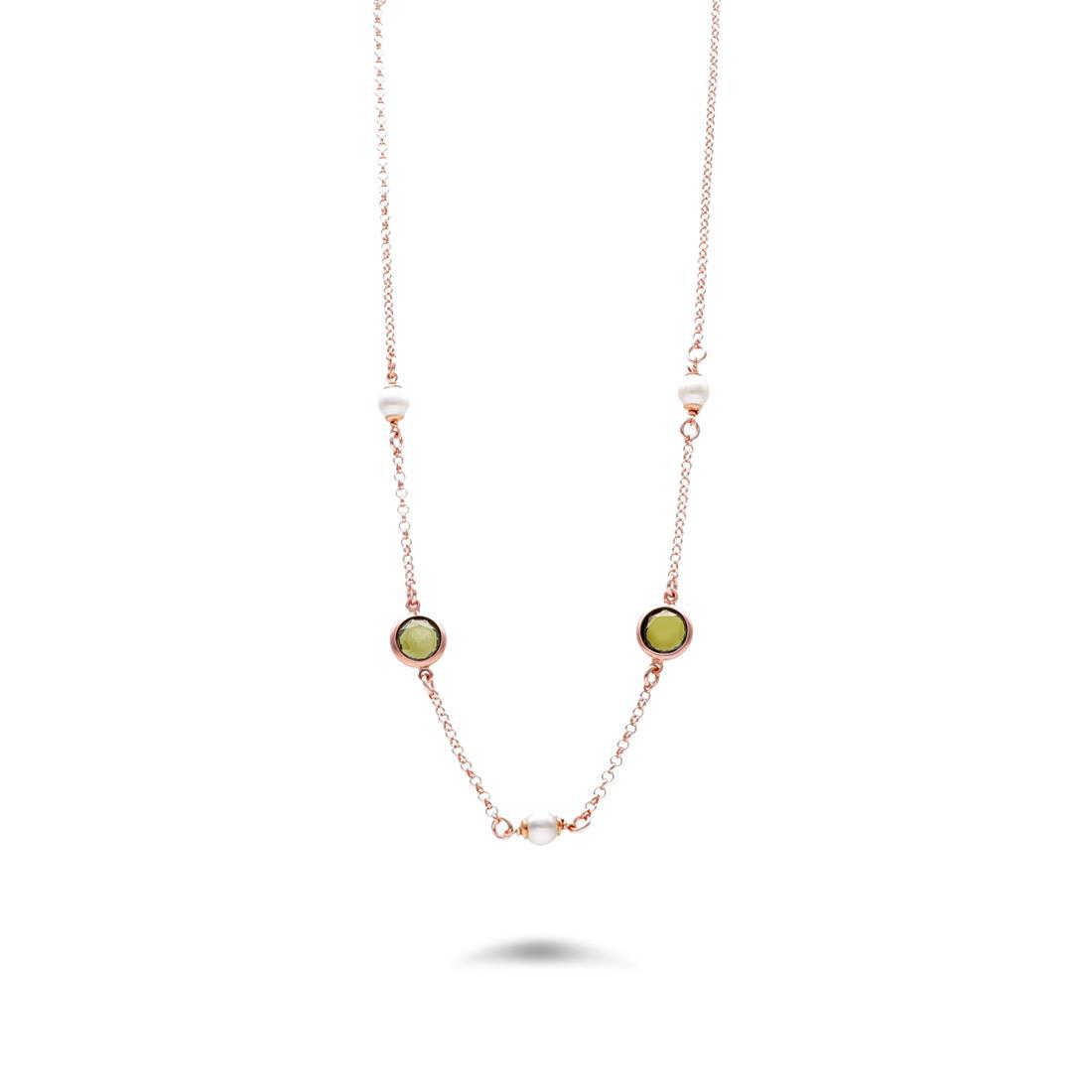 Collana con pietre verdi e perle - NOMINATION