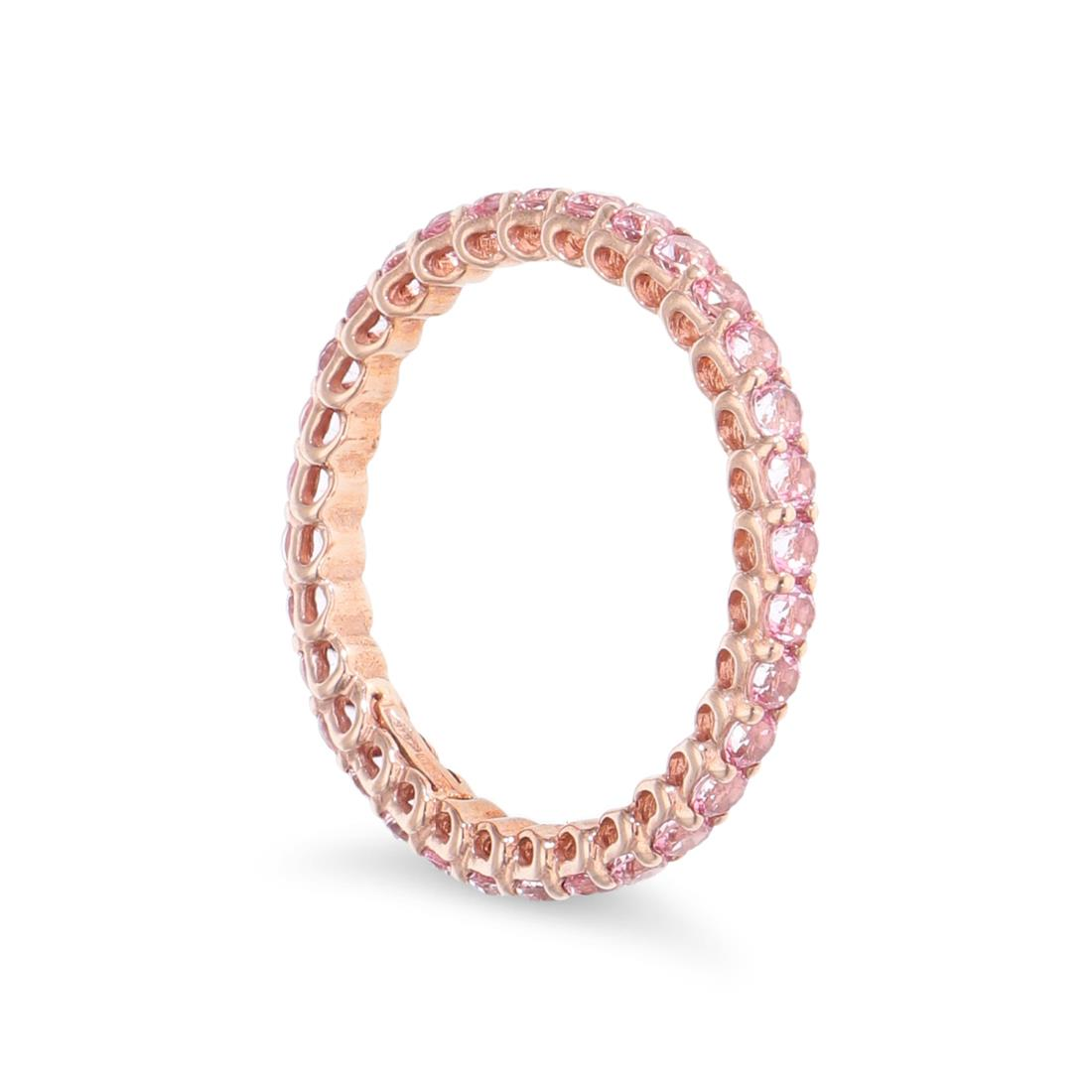 Eternity ring with pink topaz - ROBERTO DEMEGLIO
