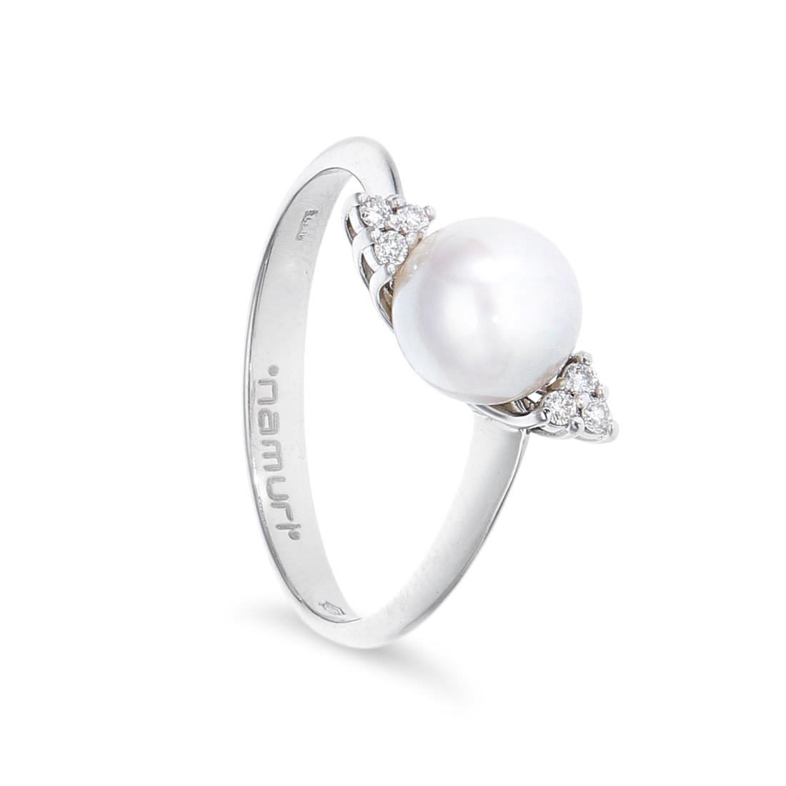 Anillo con perla y diamantes - ROBERTO DEMEGLIO
