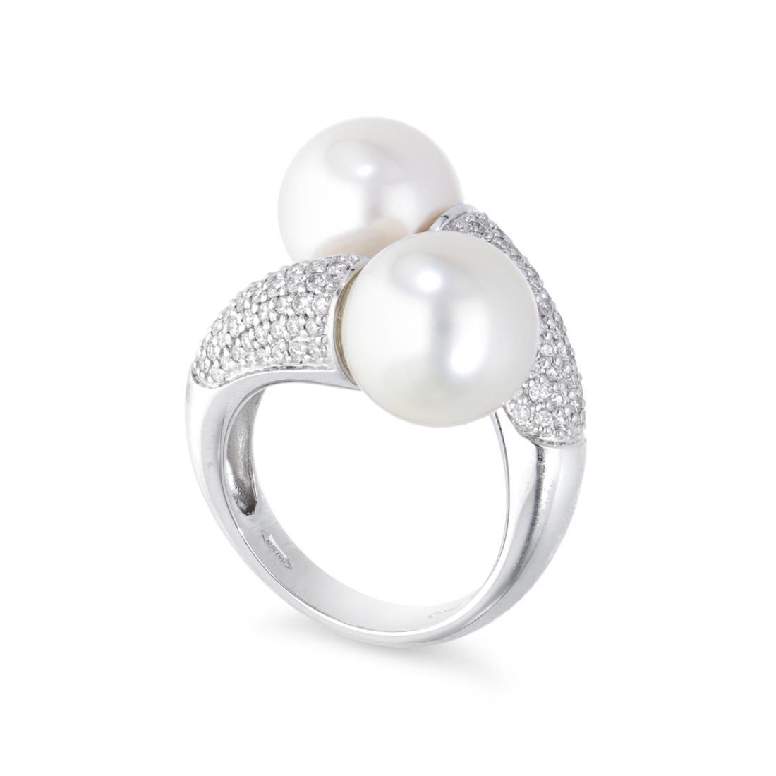 Anello con perle e diamanti - MAYUMI