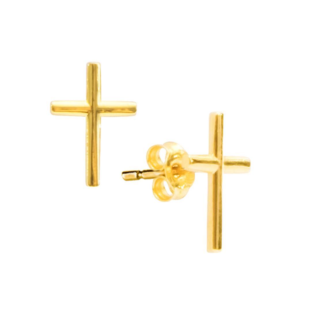 Orecchini in oro giallo a croce - ORO&CO