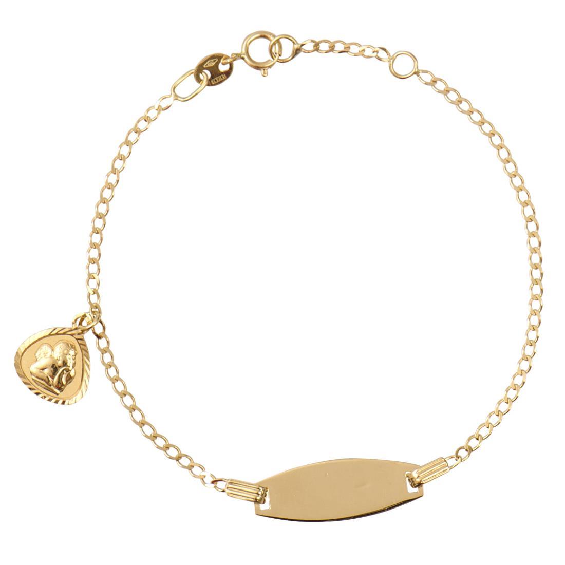 Bracciale per neonato in oro giallo con targhetta - ORO&CO