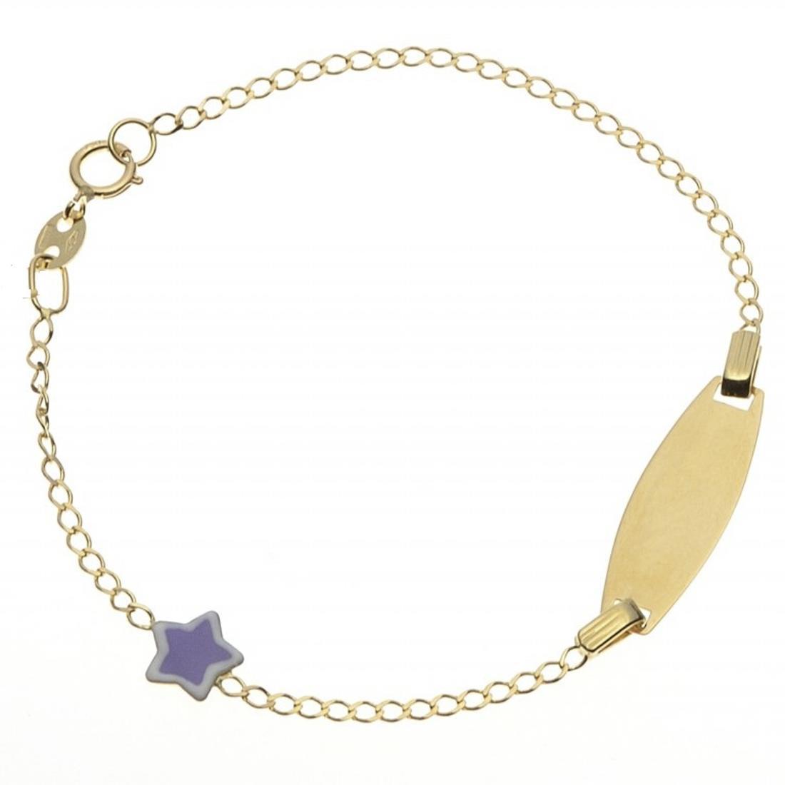 Bracciale in oro giallo con targhetta e stellina - ORO&CO