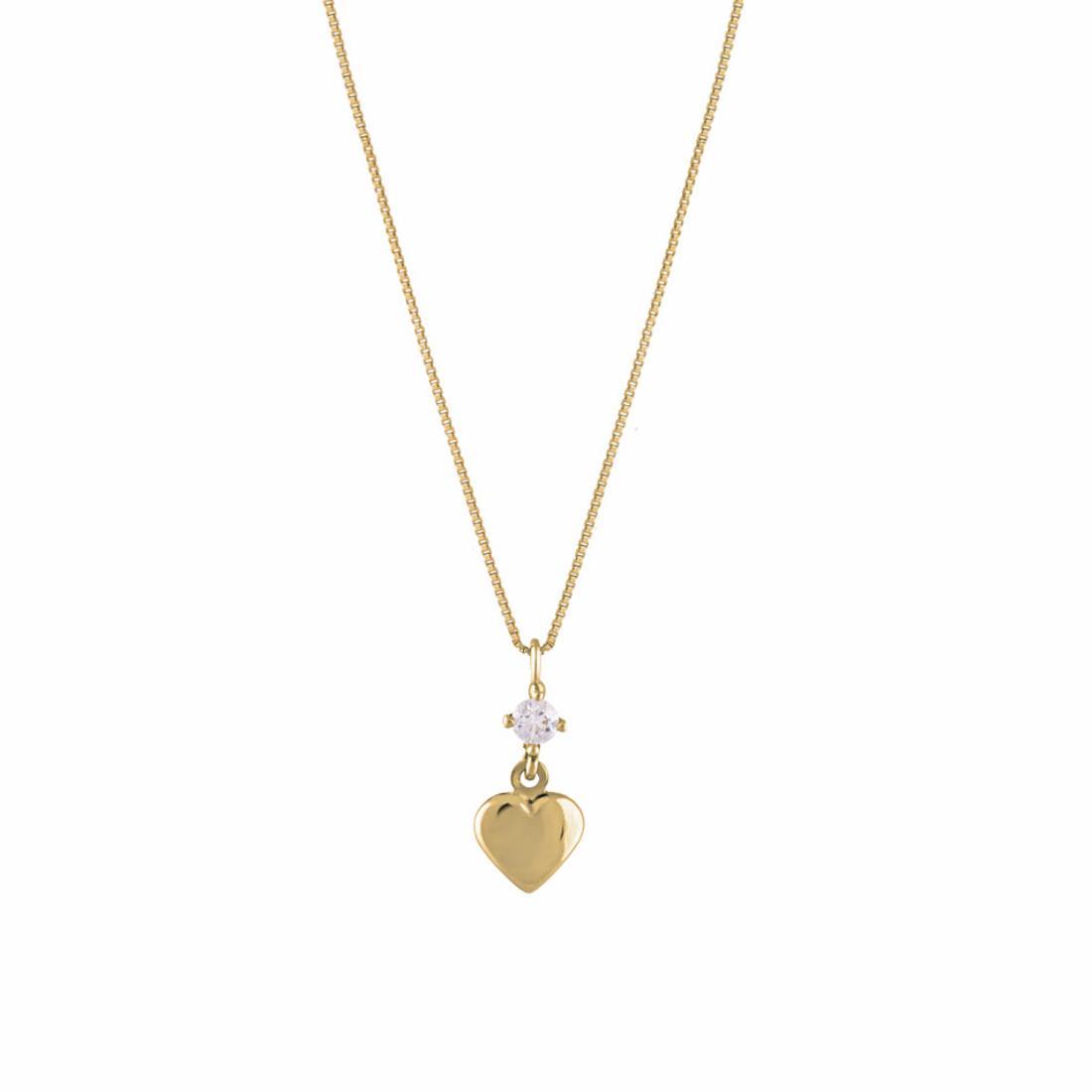 Collana in oro giallo, pendente a cuore con zircone - ORO&CO