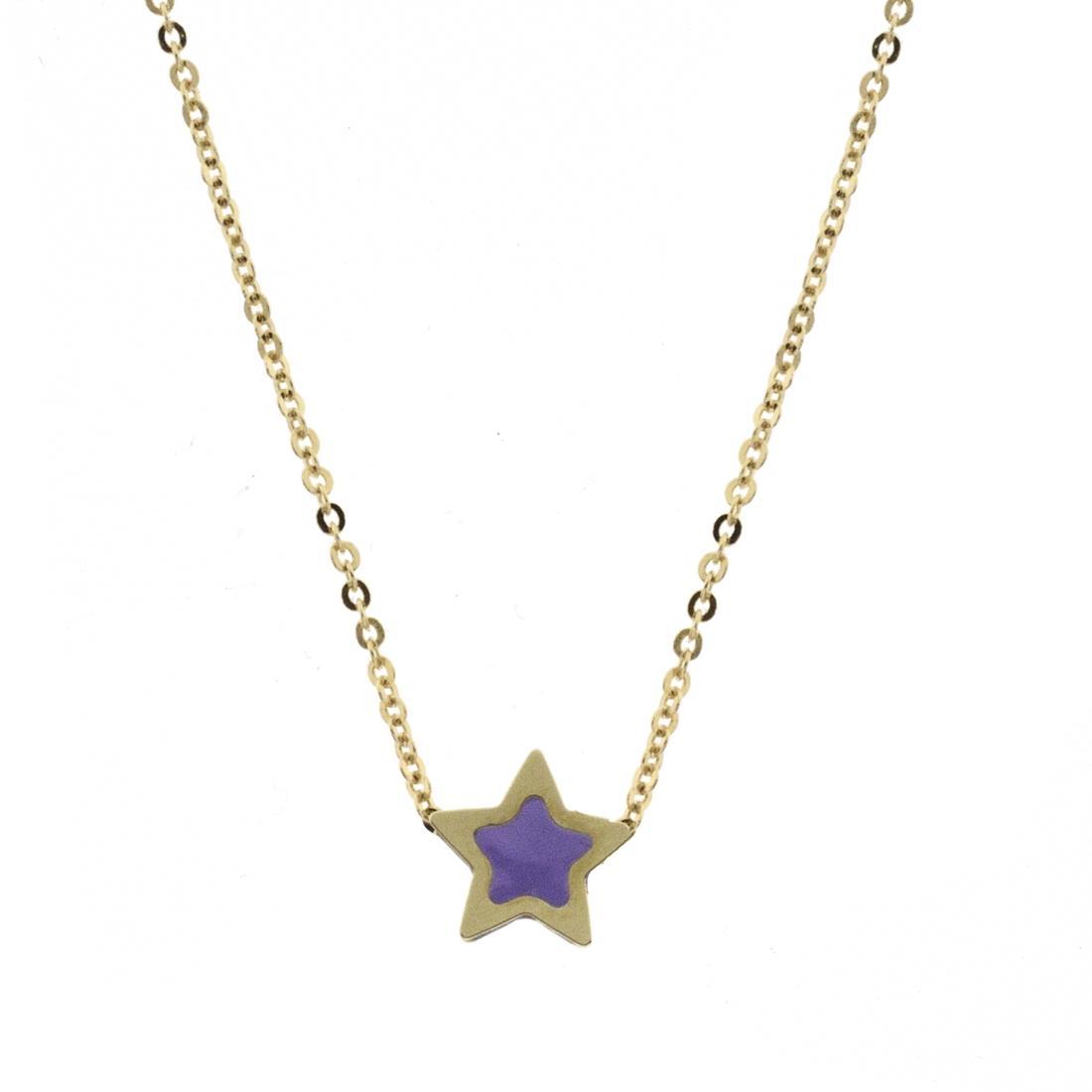 Collana in oro giallo, pendente a stella con smalto lilla - ORO&CO