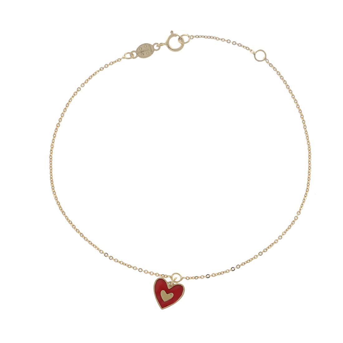 Bracciale in oro giallo con cuore rosso - ORO&CO