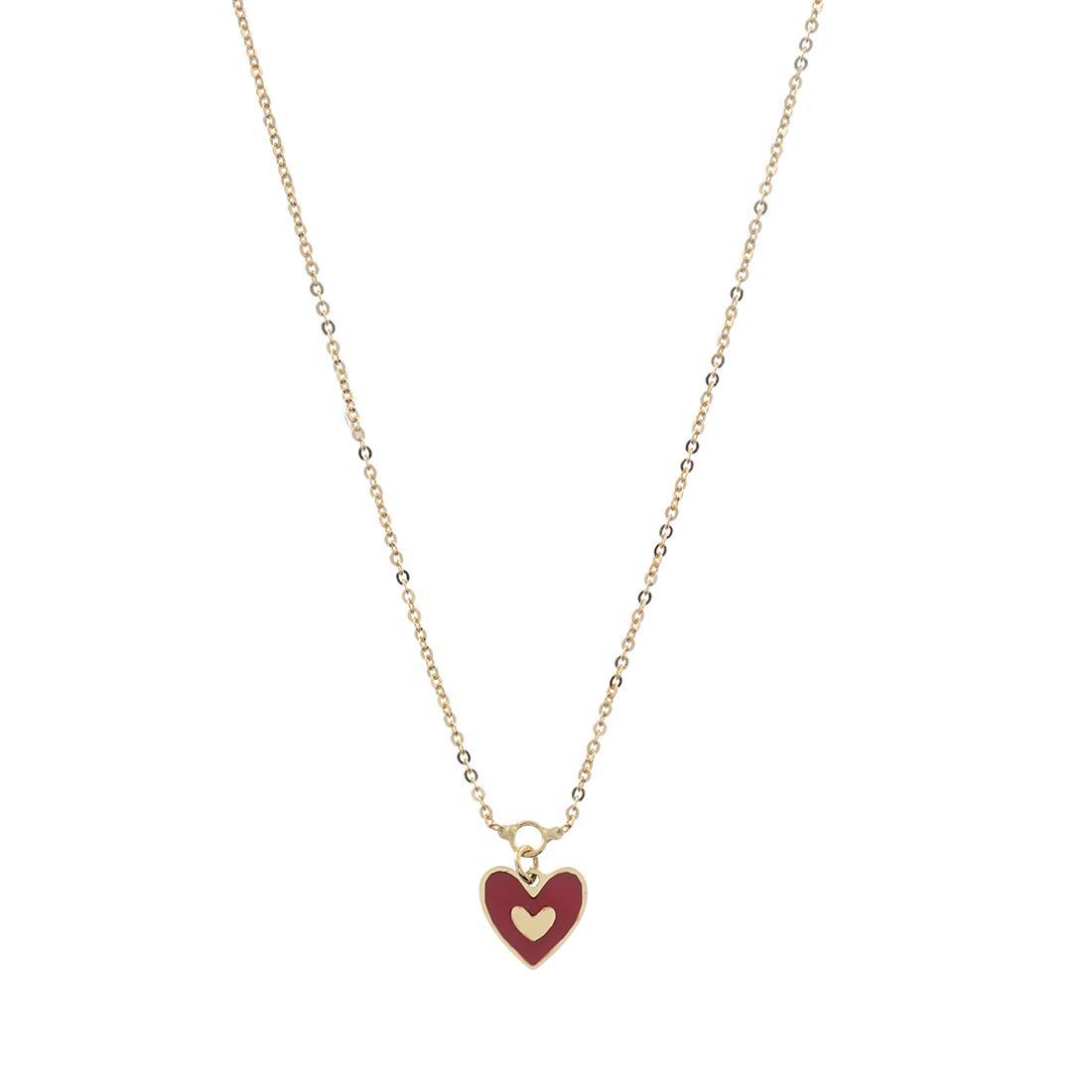 Collana  in oro giallo con cuore rosso - ORO&CO