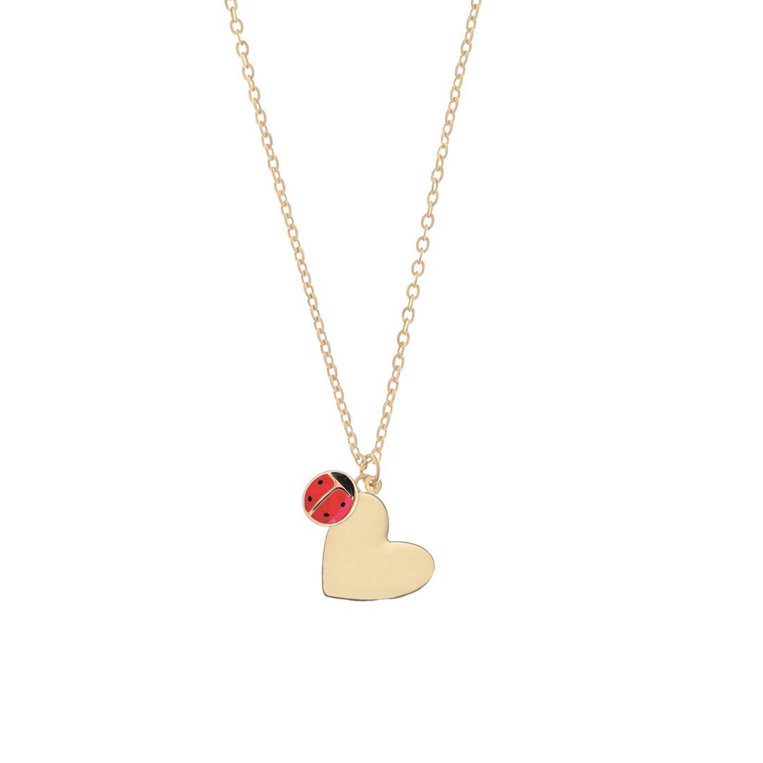 Collana in oro giallo 18 kt con pendente cuore - ELLA