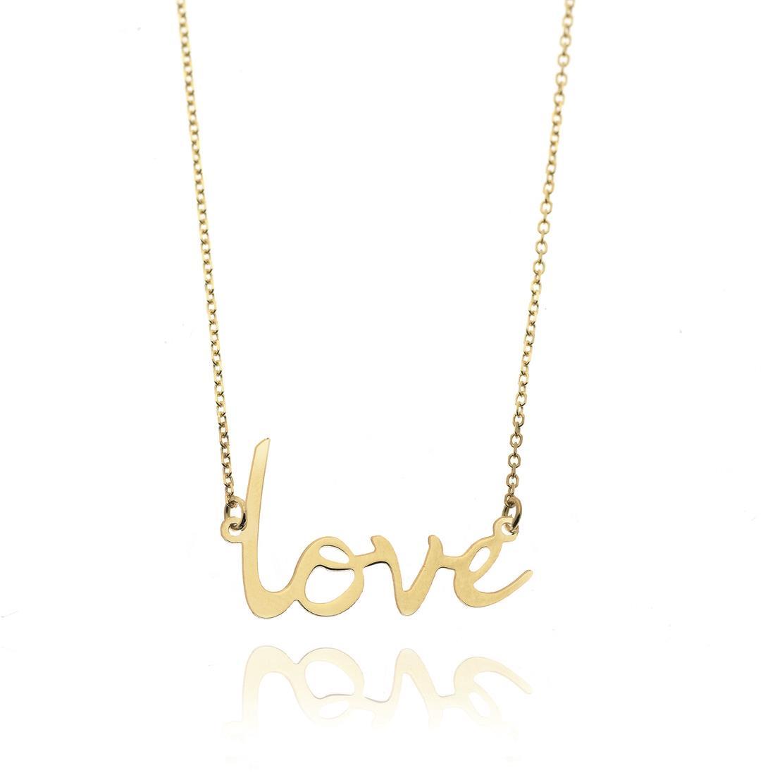 Collana in oro giallo 18 kt con scritta love - ELLA