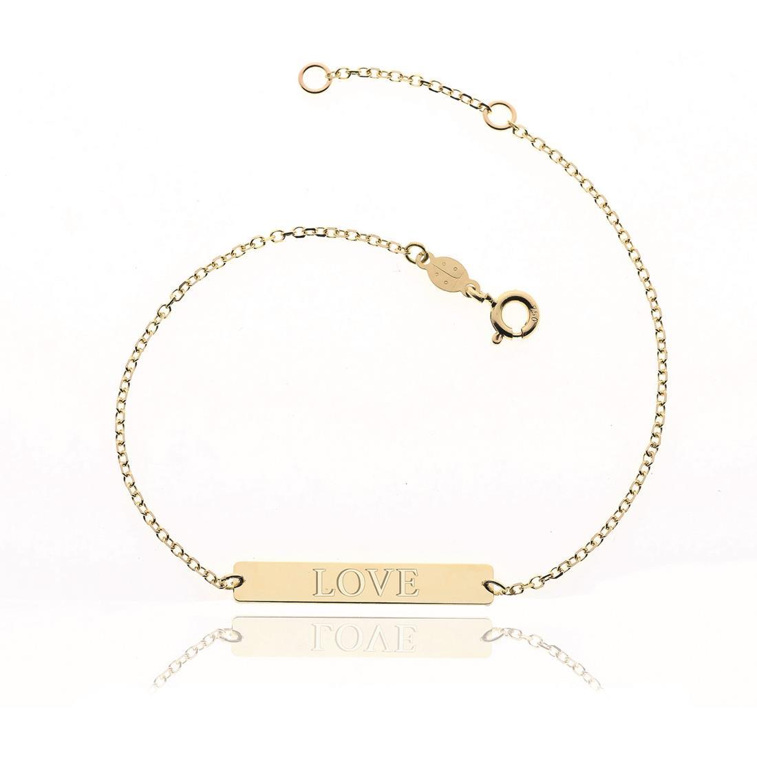 Bracciale in oro giallo con una piastrina centrale con scritta Love - ELLA
