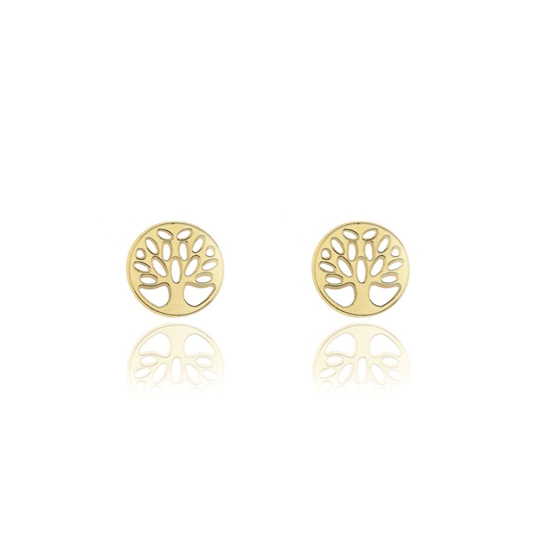 Orecchini al lobo in oro giallo 18kt design albero di vita - ELLA