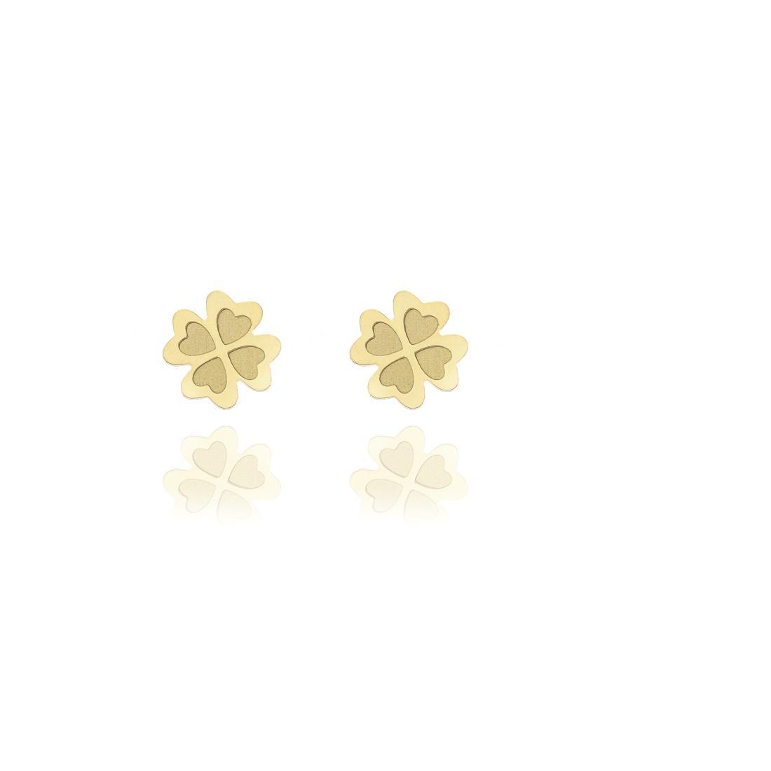 Orecchini a lobo in oro giallo 18 kt  design quadrifoglio - ELLA