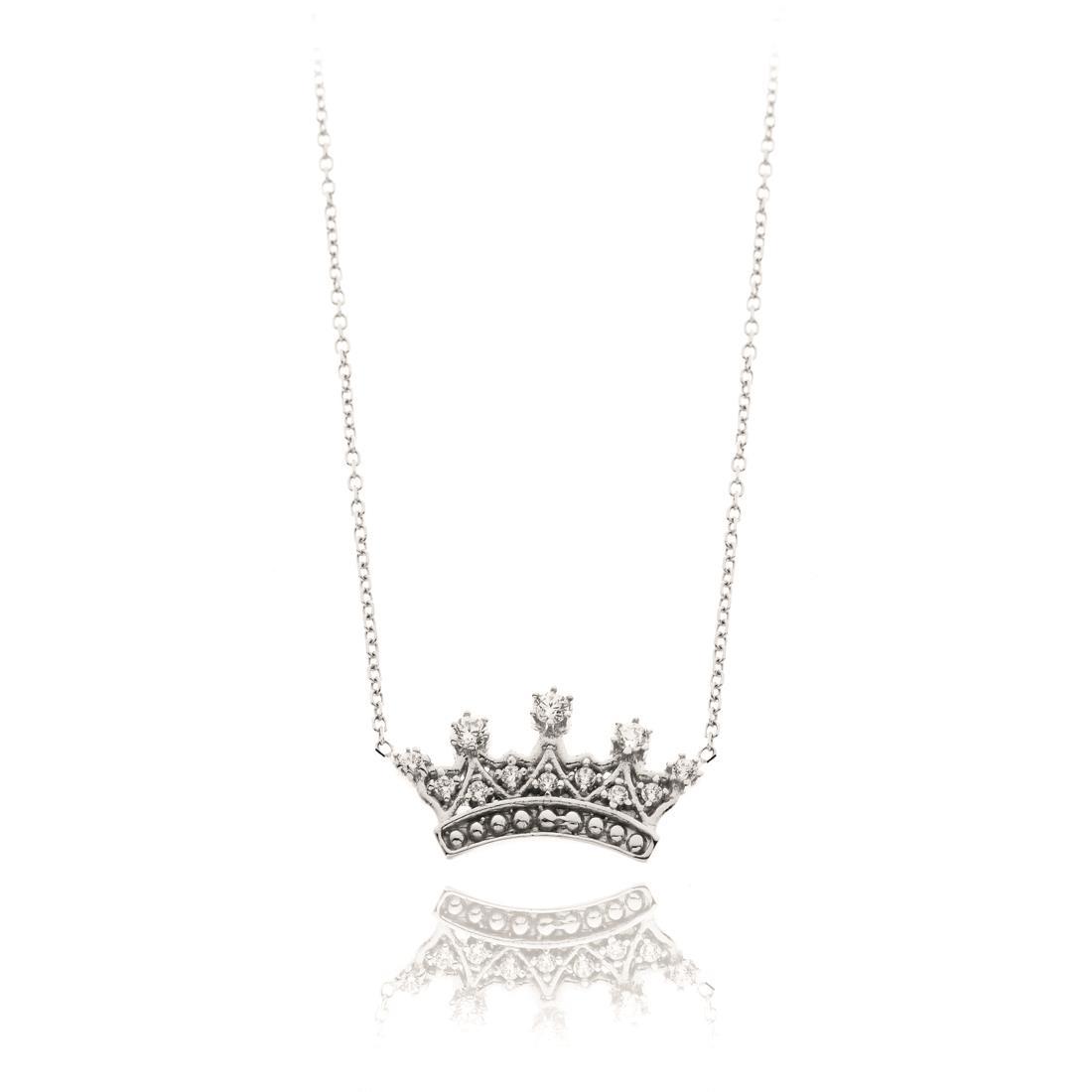 Collana in oro bianco con pendente a forma di corona - ELLA