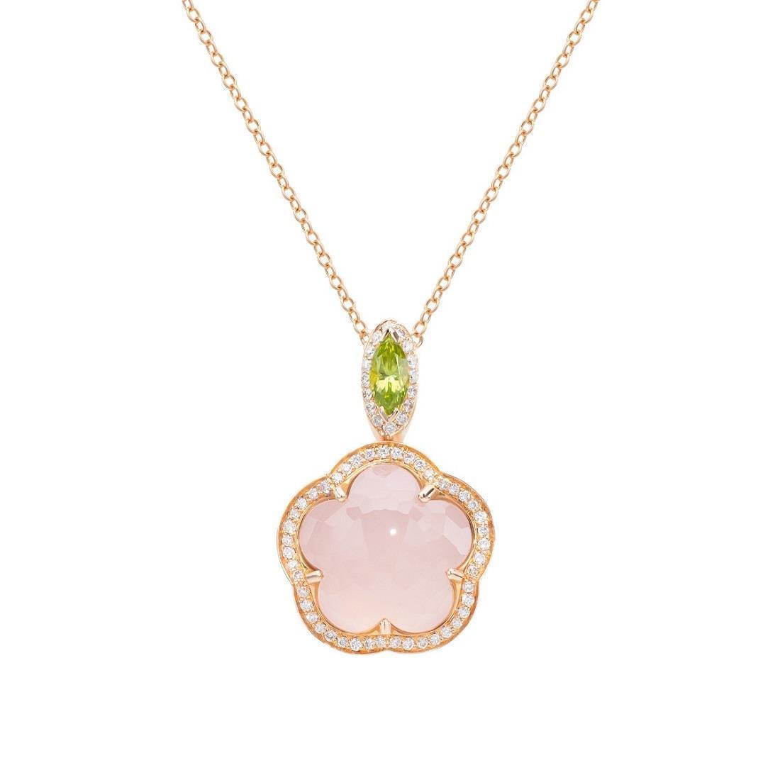 Collana con pendente quarzo rosa e diamanti - PASQUALE BRUNI