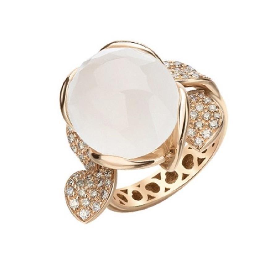 Anello con diamanti e quarzo milky - PASQUALE BRUNI