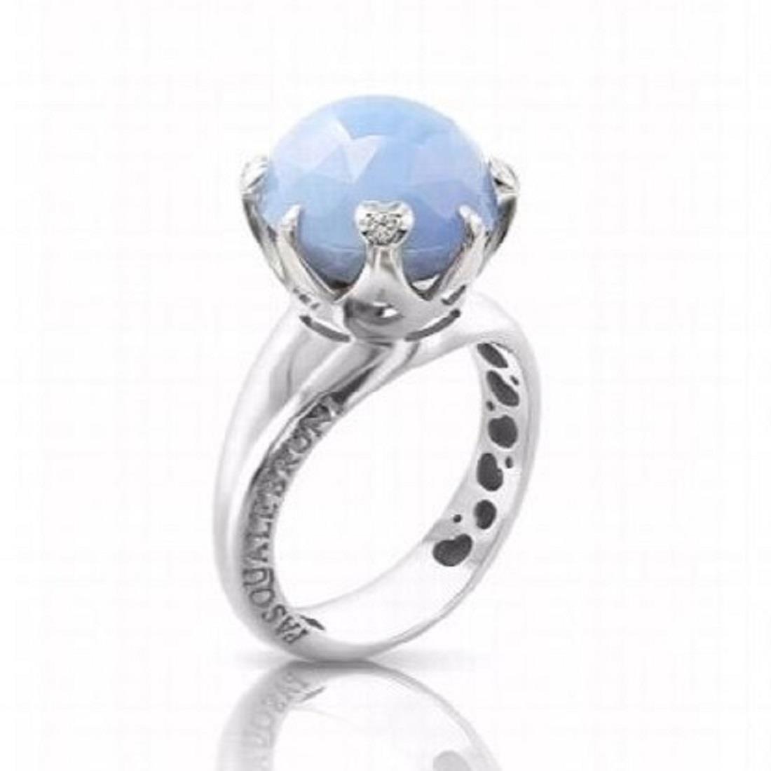 Anello con diamanti e calcedonio - PASQUALE BRUNI