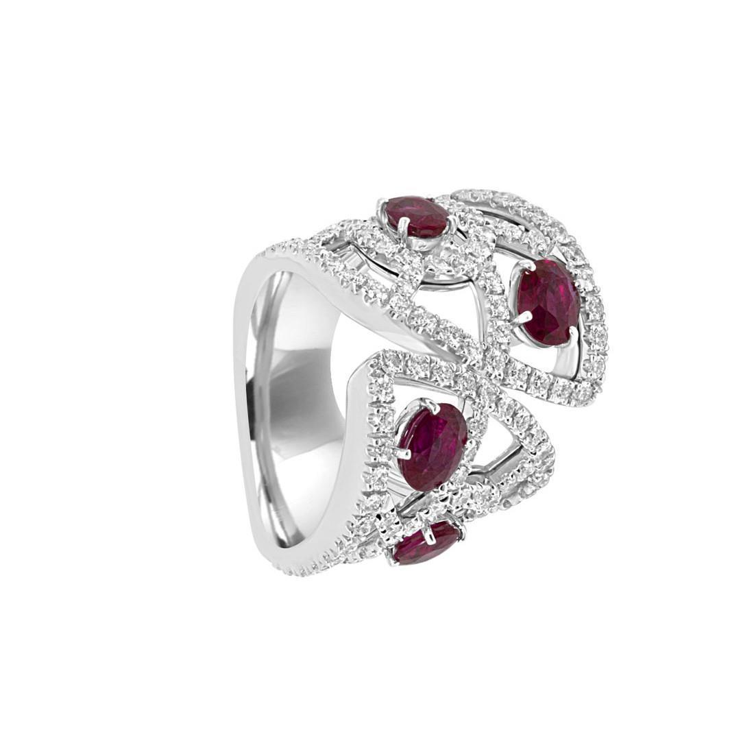 Anello con diamanti e rubini - DAMIANI