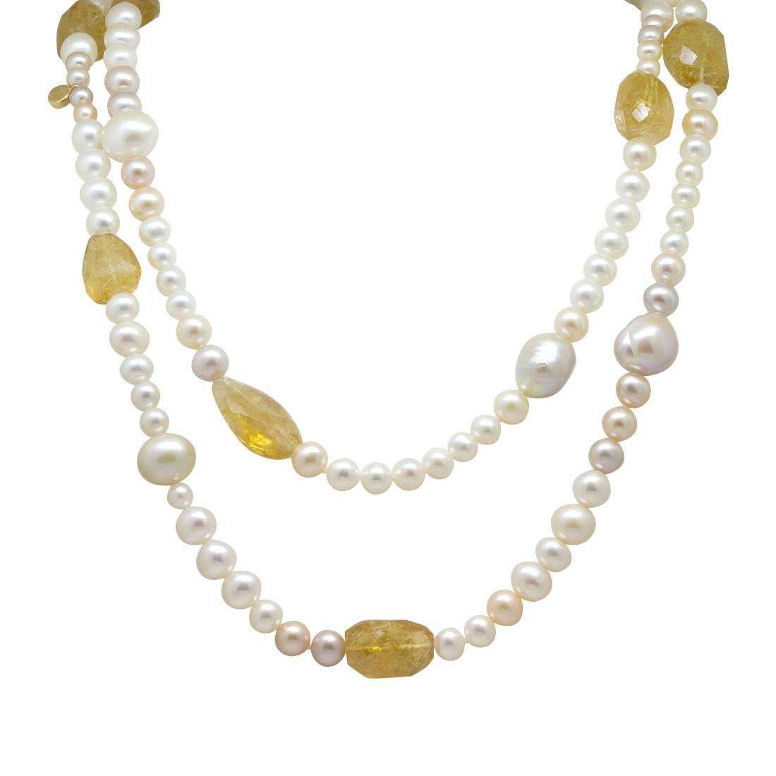 Collana di perle e quarzo citrino - ROBERTO DEMEGLIO