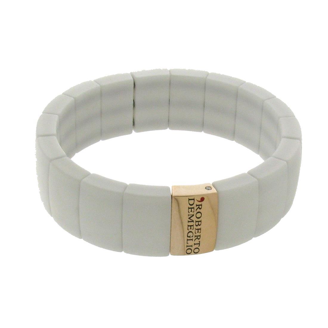 Bracciale Domino 1 file di ceramica bianca - ROBERTO DEMEGLIO