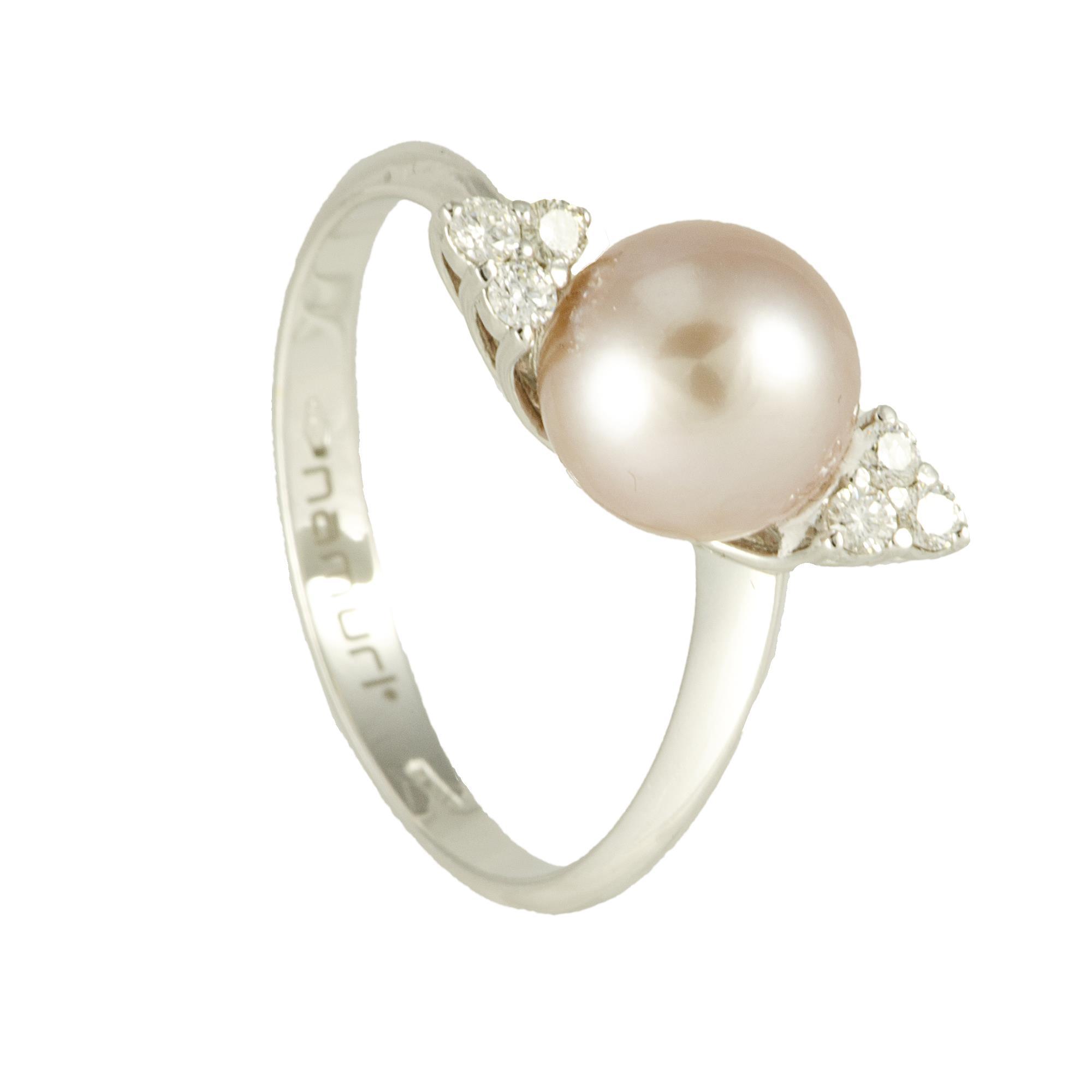 Anello in oro bianco con perla Akoya e diamanti ct 0.16  - ROBERTO DEMEGLIO