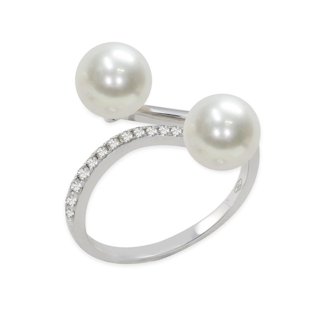 Anello con diamanti e perle Akoya - MAYUMI
