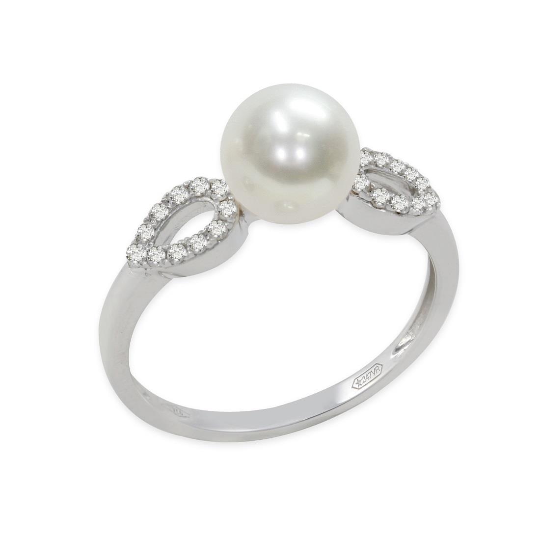 Anello con diamanti e perla - MAYUMI