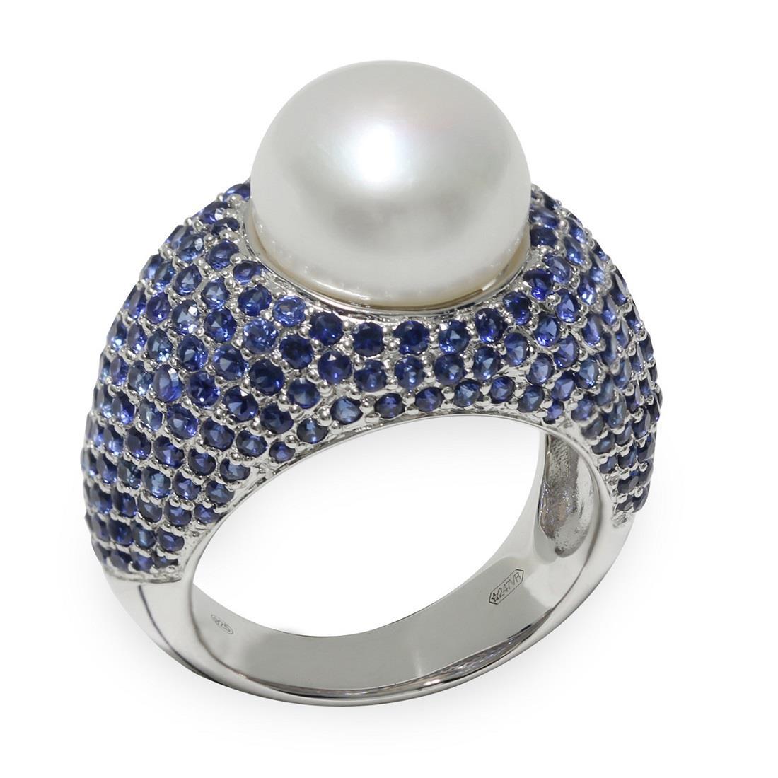 Anello con perla e zaffiri - MAYUMI