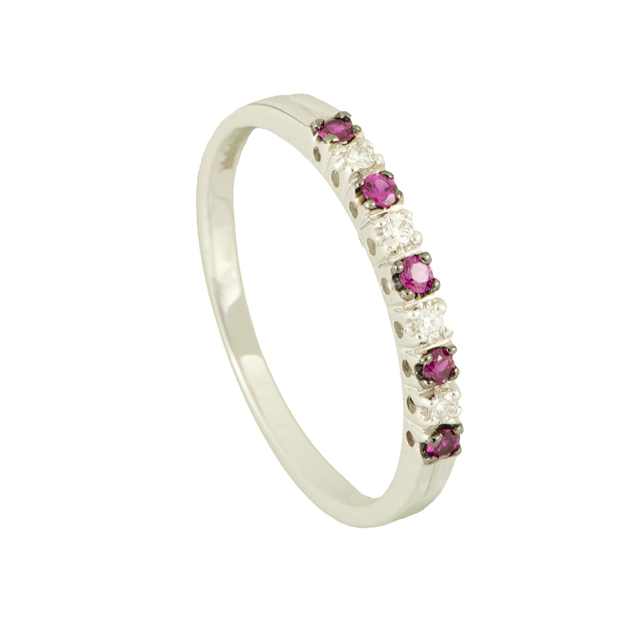 Anello veretta in oro bianco con diamanti e rubini - ALFIERI ST JOHN