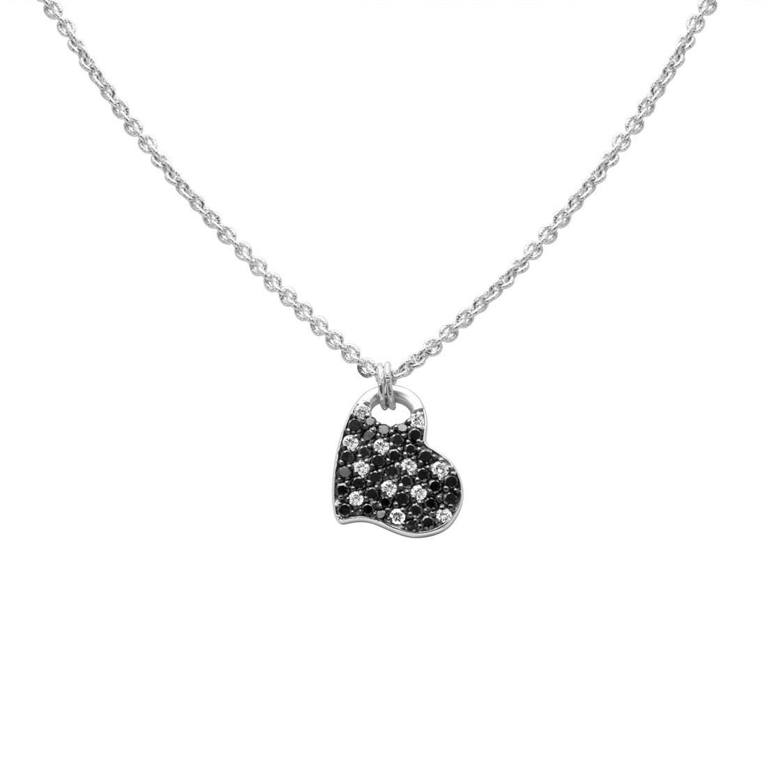 Collana con pendente cuore in oro bianco e diamanti  - ROBERTO DEMEGLIO